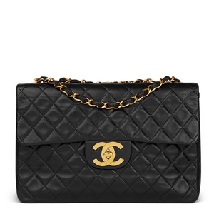 ec3261528dc8 Added to Shopping Bag. Chanel Vintage Lambskin Jumbo Maxi Shoulder Bag.  Chanel Classic Flap Quilted Jumbo Maxi Black Lambskin Leather ...