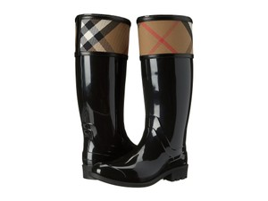 Burberry Crosshill Rain Waterproof Water-resistant Signature Plaid Black Boots