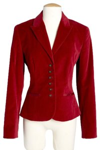 Tahari Velvet Jacket Details Tailored Red Blazer