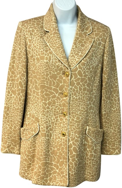 St. John Brown/Beige Collection Animal Print Brown/Beige Knit Jacket Blazer Size 6 (S) St. John Brown/Beige Collection Animal Print Brown/Beige Knit Jacket Blazer Size 6 (S) Image 1