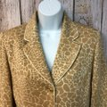St. John Brown/Beige Collection Animal Print Brown/Beige Knit Jacket Blazer Size 6 (S) St. John Brown/Beige Collection Animal Print Brown/Beige Knit Jacket Blazer Size 6 (S) Image 2