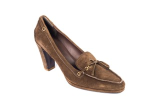 The Original Car Shoe Prada Suede Brown Pumps