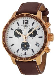 Tissot Quickster Chronograph Silver Dial Unisex Leather Watch
