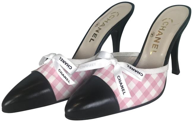 Item - Pink & White Checkered Gingham Slip On Mules Heels Pumps Size EU 35.5 (Approx. US 5.5) Regular (M, B)