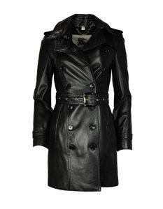 Burberry London Lambskin Leather Double Breasted Trench Coat