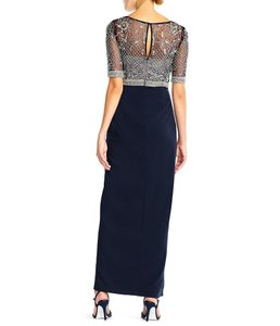 Adrianna Papell Midnight/Navy and Beige Top Polyester Rn #59782 Formal Bridesmaid/Mob Dress Size 10 (M)