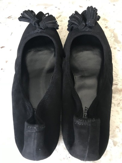 J.Crew Leather Suede Tassel Black Flats Image 5