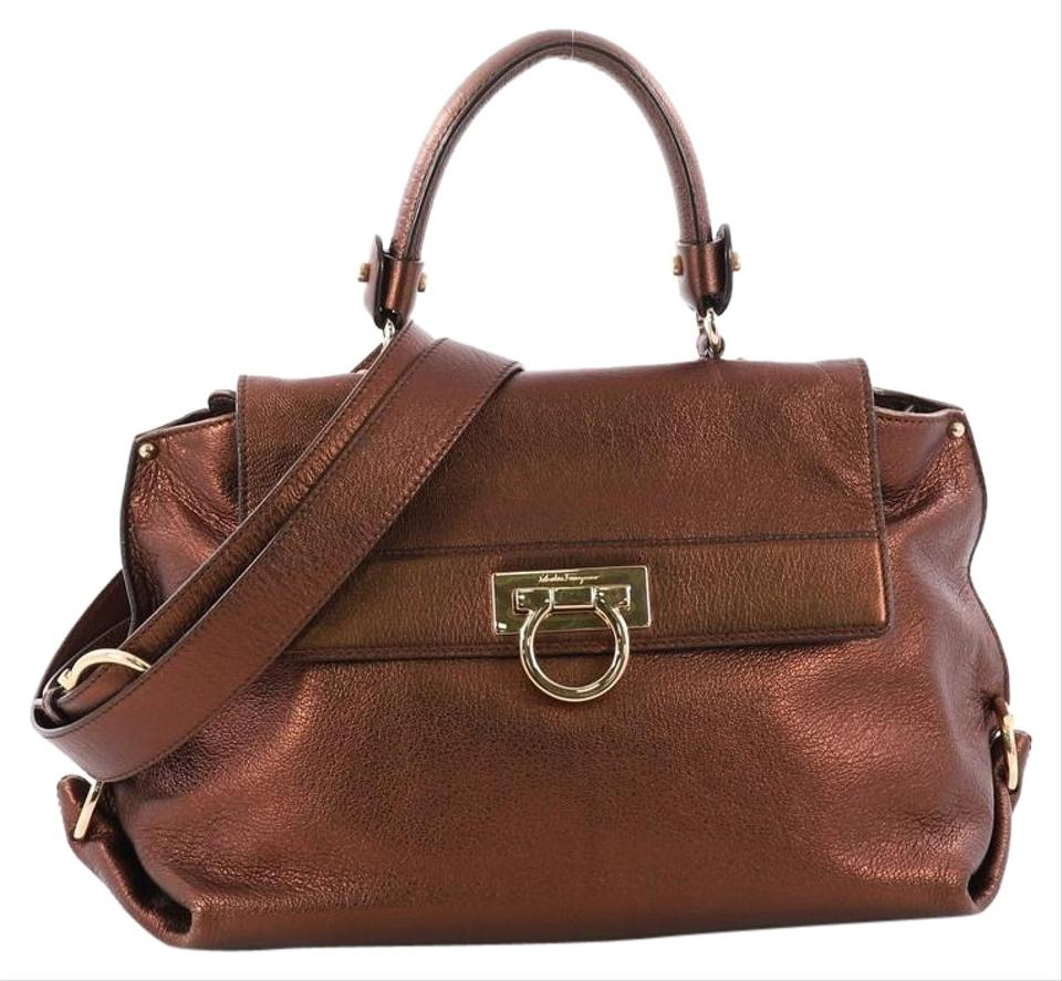 26d4757c23 Salvatore Ferragamo Sofia Pebbled Medium Bronze Leather Satchel ...