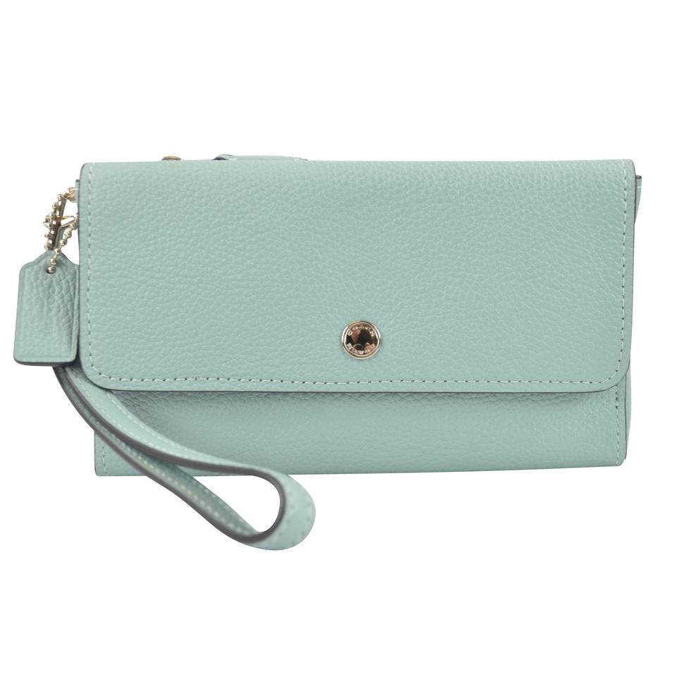 757076c8c8 Coach Light Turquoise Triple Small 29609 Wallet - Tradesy