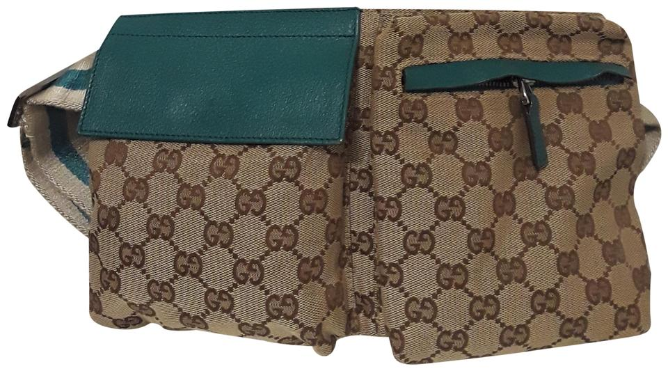 d1d24eef5a1 Gucci Gg Waist Belt Pouch Jacquard Brown Green and White Leather/Canvas  Cross Body Bag