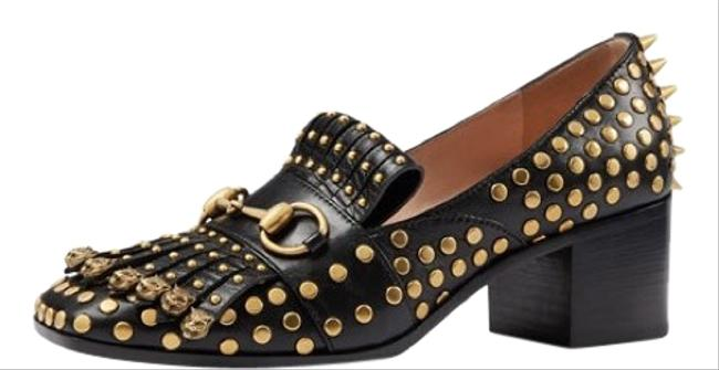 Item - Black and Gold Studded Polly Loafer Mules/Slides Size EU 39.5 (Approx. US 9.5) Regular (M, B)