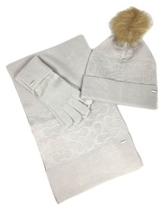 Coach Coach Soft Gray (Ice) Embossed Knit Scarf, Hat and Tech Gloves Set