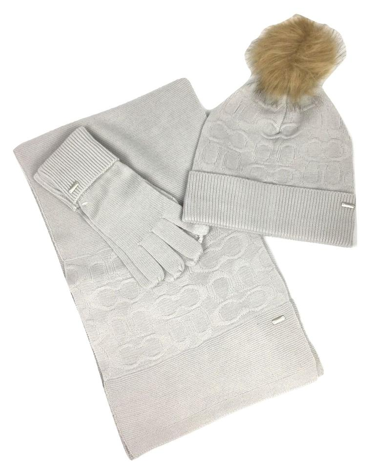 Coach Gray (Ice) Soft Embossed Knit and Tech Gloves Set Scarf Wrap ... fc0a985dd213