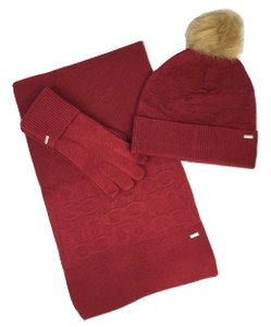 Coach Coach Soft Bright Red Embossed Knit Scarf, Hat and Tech Gloves Set