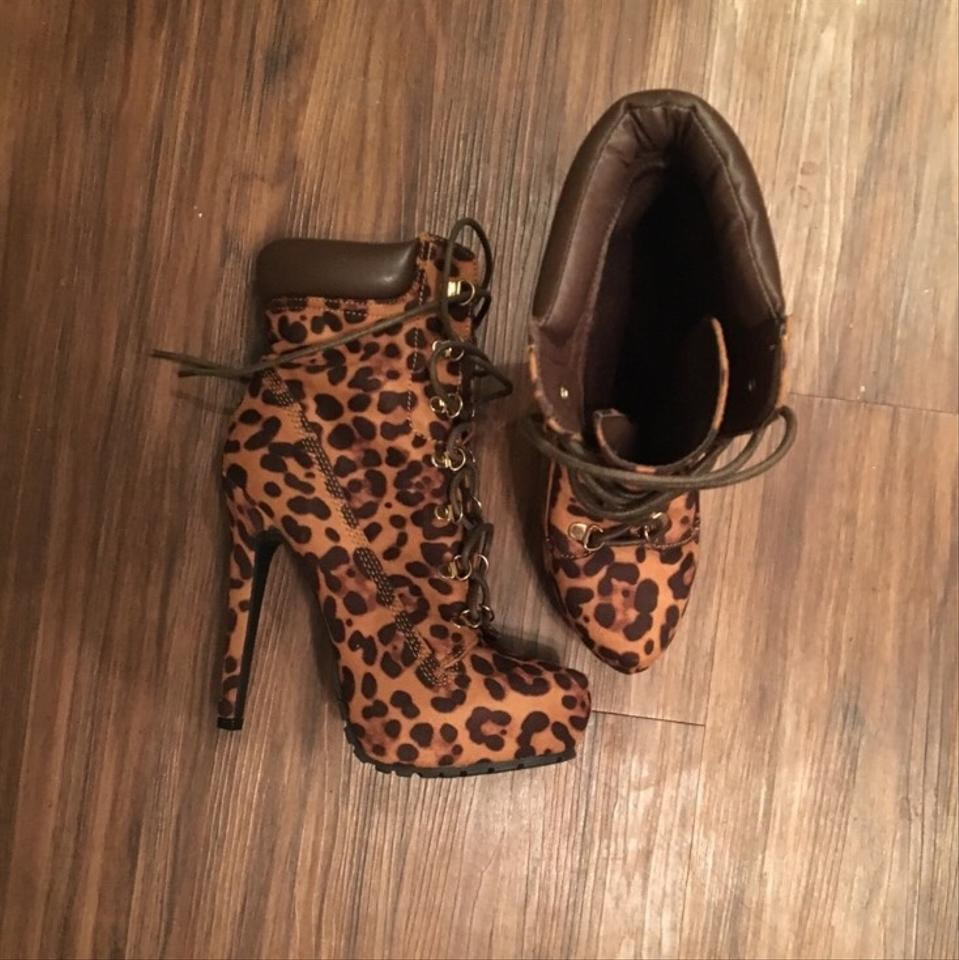 bc3a20c558e JustFab Brown Cheetah Print Heels Platforms Size US 8 Regular (M