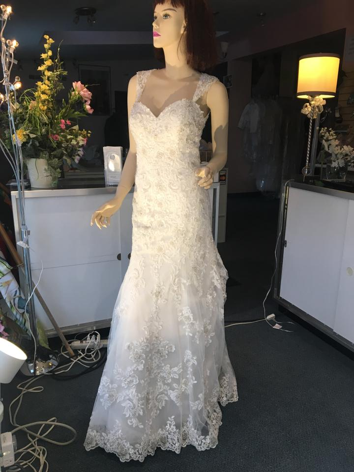 804593545c78 Alfred Angelo Ivory/Pearl/Metallic Lace Polyester Sapphire Collection Style  #986 Modern Wedding Dress. Street Size: 6 ...