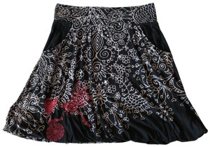 Desigual Painting Embroidered Knit Skirt Black
