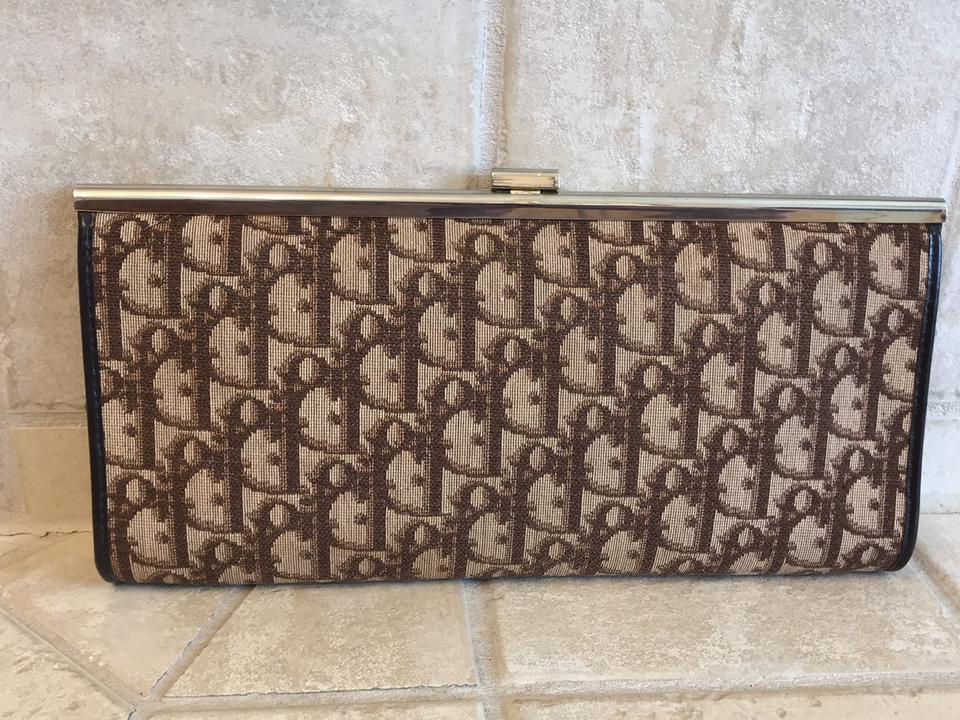 e30307d593d Dior Trotter Print Monogram Vintage Brown Canvas Clutch - Tradesy