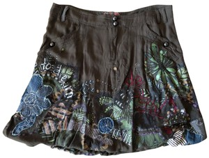 Desigual Painting Embroidered Skirt Dark green