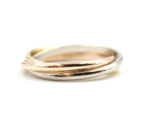 Cartier RARE XS 18K Trinity white gold yellow rose pink gold ring size 47 4.25