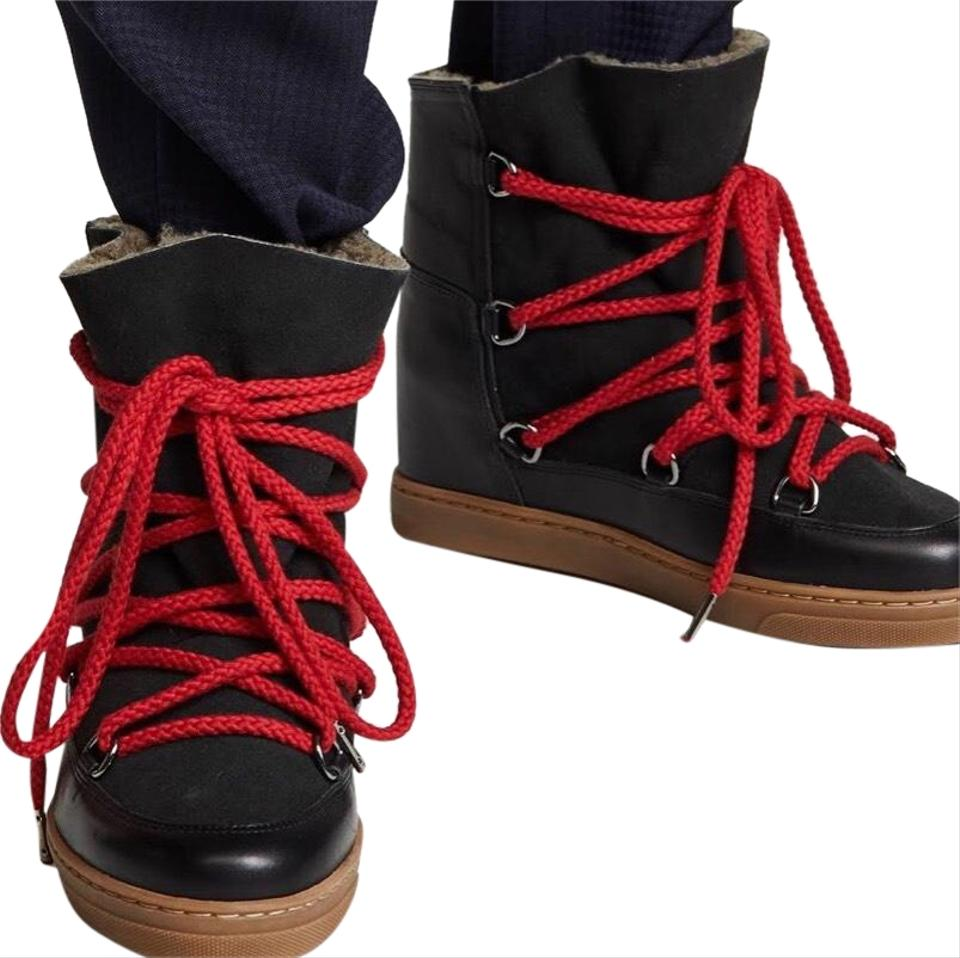 los angeles 1cbc1 5dddc Isabel Marant Black W Red Laces Nowels Boots/Booties Size EU 37 (Approx. US  7) Regular (M, B) 45% off retail