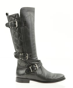 Burberry Quilted Riding Leather Winter Black Boots