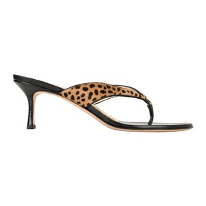 Jimmy Choo Slides Mules Leopard Calf Hair Brown Sandals
