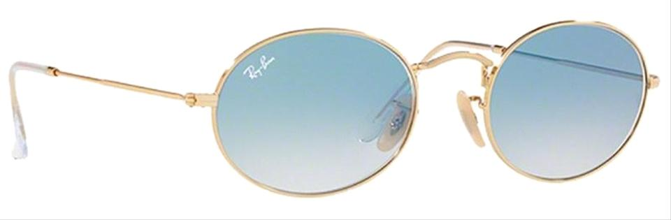 64e82a4a62 Ray-Ban Oval Flat Lenses Gold Frame   Light Blue Gradient Lens ...