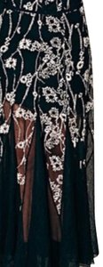 Free People Maxi Skirt Black with light cream flower embroidery