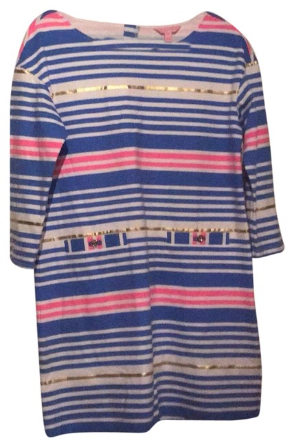 Item - Blue White & Pink Mid-length Work/Office Dress Size 8 (M)