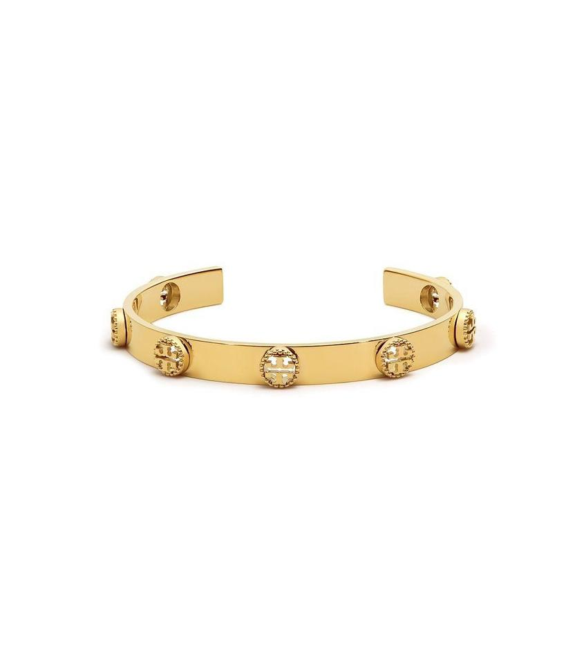 Tory Burch Brand New Milgrain Logo Cuff Bracelet In Gold