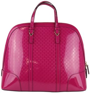 6f18f8c930ad Gucci Large Large Guccissima Nice Guccissima Patent Pink Patent Satchel in  Magenta