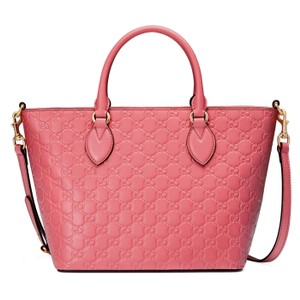 Added To Ping Bag Gucci Guccissima Satchel In Pink