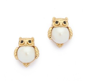 Kate Spade NEW Kate Spade Into the Woods Owl Gold Stud Earrings