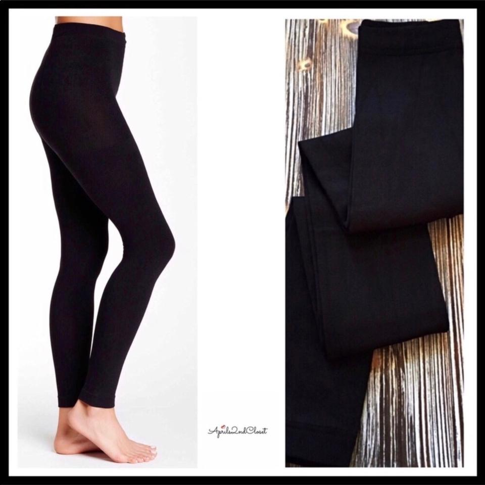 4d3877ca8d481a Anne Klein Black Fleece Lined Footless Tights Leggings Size 10 (M ...