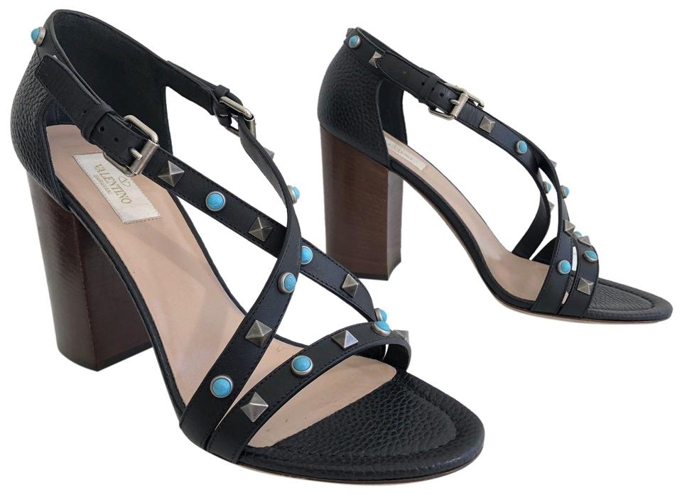 aa3dac4e1788 Valentino Black Garavani Rockstud Rolling Leather Crisscross Sandals ...