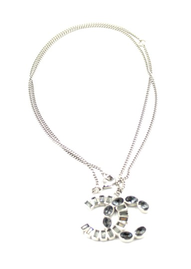 Chanel Rare CC oval and baguette crystal silver hardware choker necklace 2way