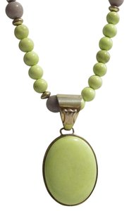 Mine Finds by Jay King Mine Finds By J. King .925 Sterling Silver Beaded Necklace With Large Light Green Gemstone Pendant with 3 Inch Extender