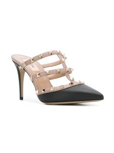 Valentino Studded Pointed Toe Leather Ankle Strap Branded Insole black Mules