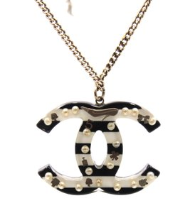 Chanel RARE large CC pearl inlay double sided silver chain necklace