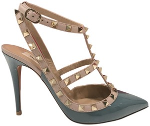 92a67e34e218 Valentino Studded Leather Pointed Toe Made In Italy Ankle Strap blue Pumps