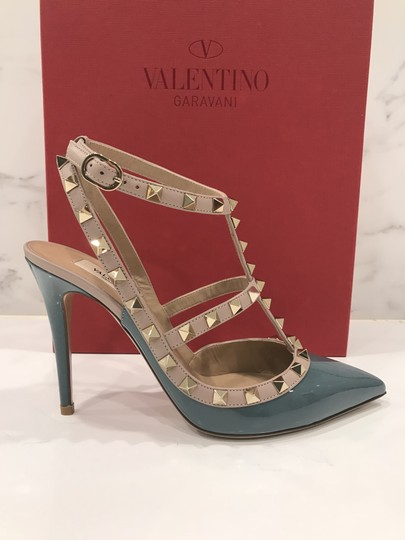 Valentino Studded Leather Pointed Toe Made In Italy Ankle Strap blue Pumps