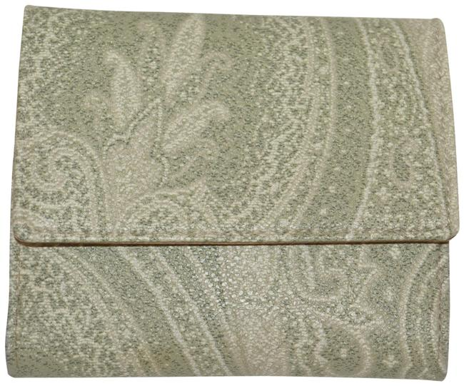 Item - Tan / Green Pailsey Embossed Leather Made In Italy Wallet