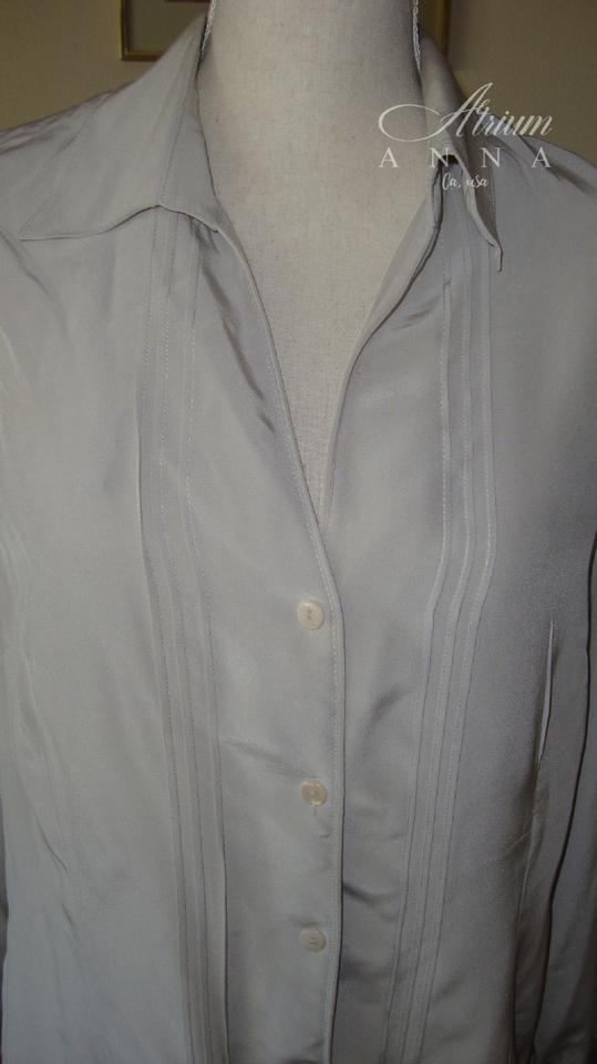 0445ebf1d22ac Jones Wear Gray Light Silk Shirt Button-down Top Size 14 (L) - Tradesy
