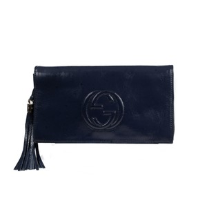 Gucci Soho Patent Leather Navy Clutch