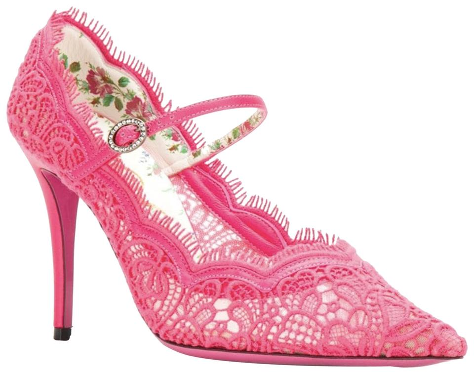 47d5f97b4579 Gucci Pink Floral Neon Lace Jeweled Buckle Pointed Heels B238 Pumps ...