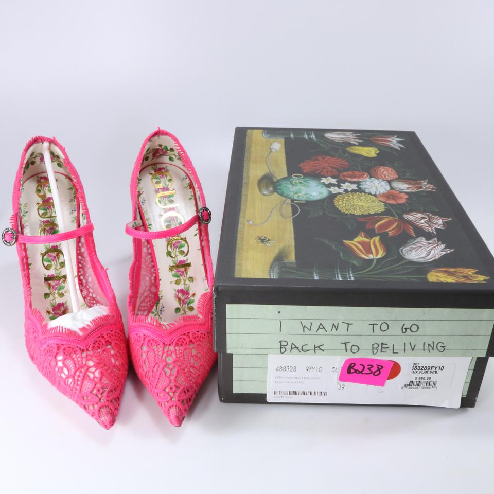 21d3e3bfc3 Gucci Pink Floral Neon Lace Jeweled Buckle Pointed Heels B238 Pumps Size EU  39 (Approx. US 9) Regular (M, B) - Tradesy