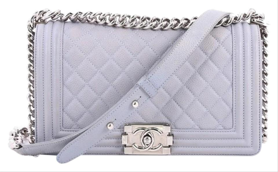 a6f17fbbdcfe Chanel Classic Flap Boy Quilted Caviar Old Medium Light Blue Leather ...