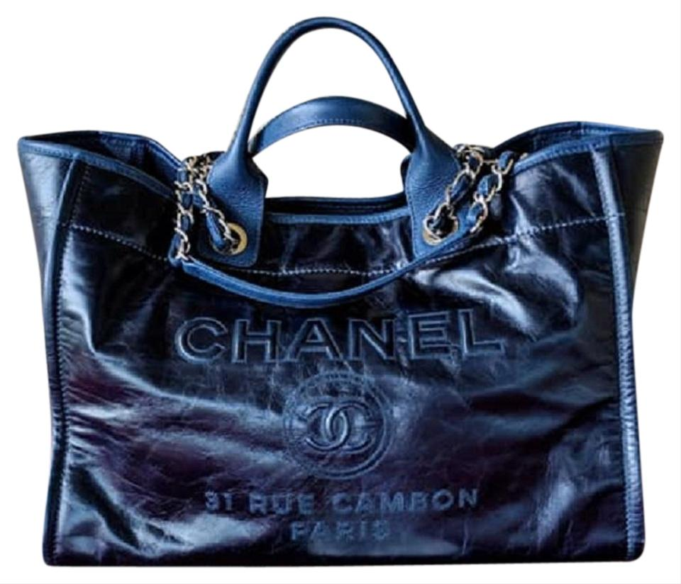 b4b73976282a Chanel Deauville Navy Glazed Large Blue Calfskin Leather Tote - Tradesy