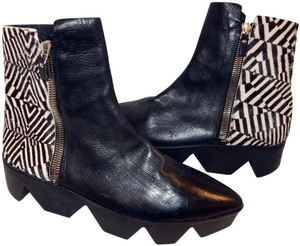 Vic Matié Calf Hair Leather Ankle Black & White Boots